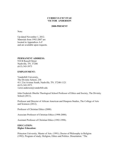 CURRICULUM VITAE VICTOR ANDERSON 2008-PRESENT Note ...