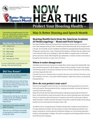 Protect Your Hearing Health - American Academy of Otolaryngology ...