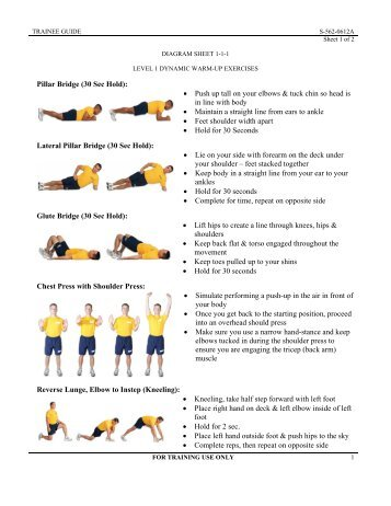 Pillar Bridge (30 Sec Hold): • Push up tall on your elbows & tuck chin ...