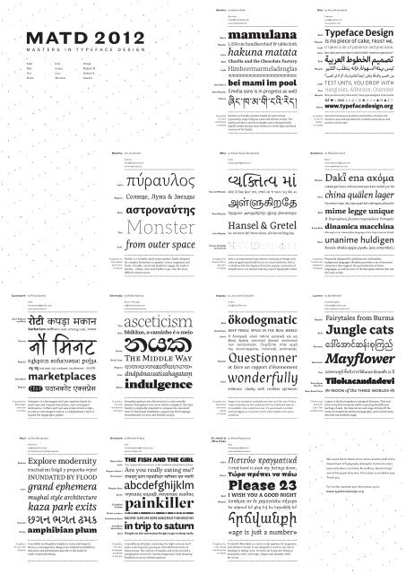 Download the 2012 group specimen - MA Typeface Design