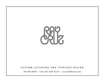 CUSTOM LETTERING AND TYPEFACE ... - Cruz Type Design