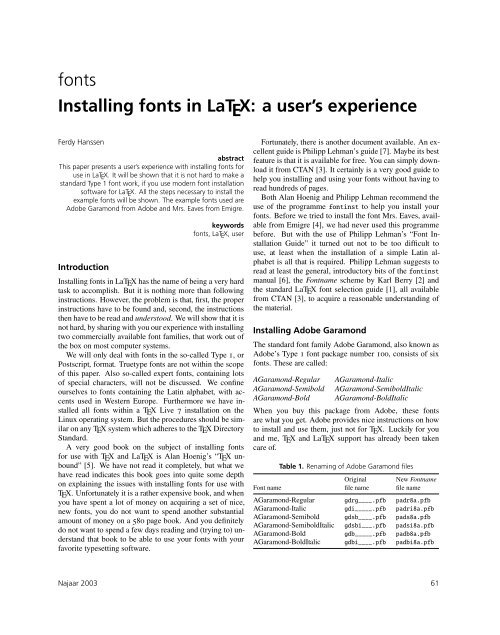 fonts Installing fonts in LaTEX: a user's experience