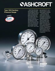 Type 1032 sanitary pressure gauges - The Valve Shop