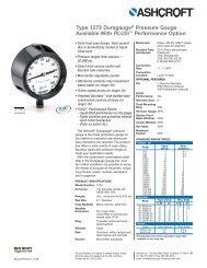 Ashcroft 1279 Duragauge Pressure Gauge data sheet - DFS Gauges
