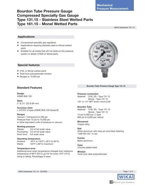 WIKA 131 15 Specialty Gas Gauge data sheet - DFS Gauges