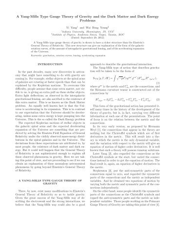 A Yang-Mills Type Gauge Theory of Gravity and the Dark Matter and ...