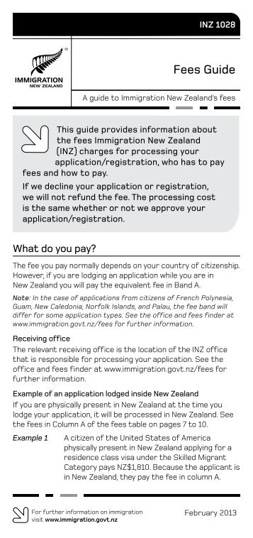 Fees Guide (INZ 1028) PDF - Immigration New Zealand