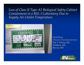 Loss of Class II Type A2 Biological Safety Cabinet Containment in a ...