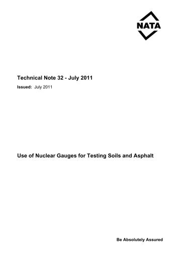 Technical Note #32 - Use of Nuclear Gauges for - NATA