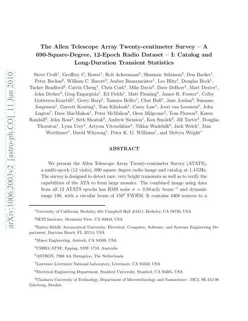 The Allen Telescope Array Twenty-centimeter Survey—A - CIRA