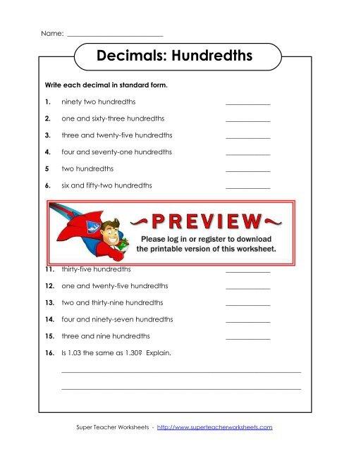 decimals hundredths  super teacher worksheets