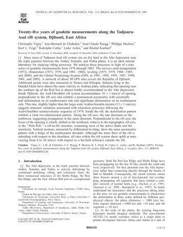 Twenty-five years of geodetic measurements along the - UMR 8538 ...
