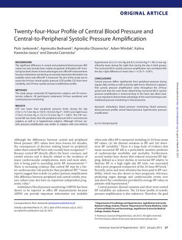 Twenty-four-Hour Profile of Central Blood Pressure and Central-to ...