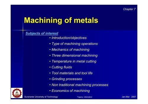 Chapter 7 – Machining Of metals