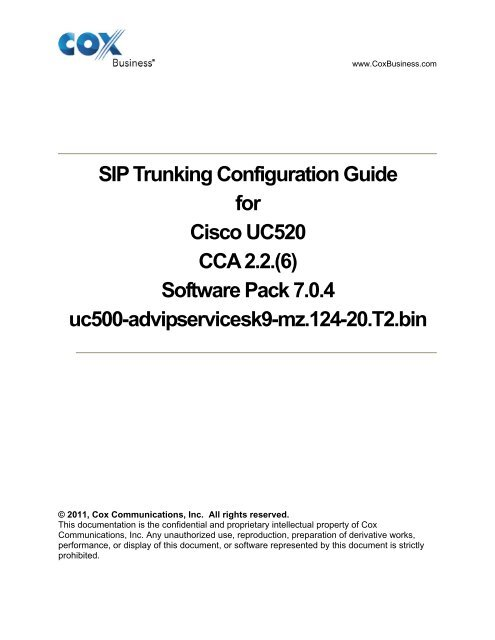 SIP Trunking Configuration Guide for Cisco UC520 CCA - Cox
