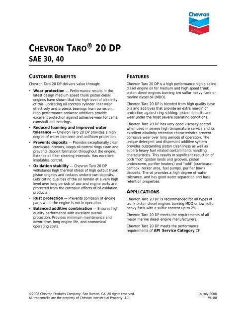 chevron taro® 20 dp sae 30, 40 - Alexis Oil