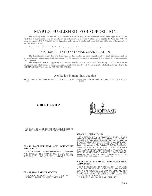 MARKS PUBLISHED FOR OPPOSITION