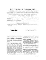 MARKS PUBLISHED FOR OPPOSITION - United States Patent and ...