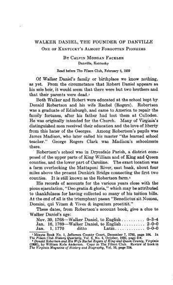 Walker Daniel, the Founder of Danville - The Filson Historical Society