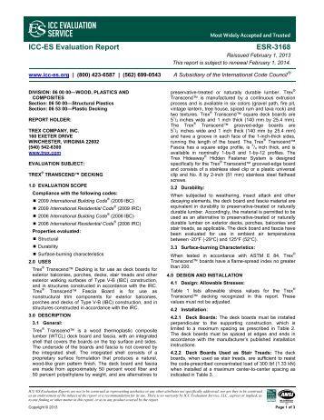 ESR-3168 - Trex Co. Inc. - ICC-ES
