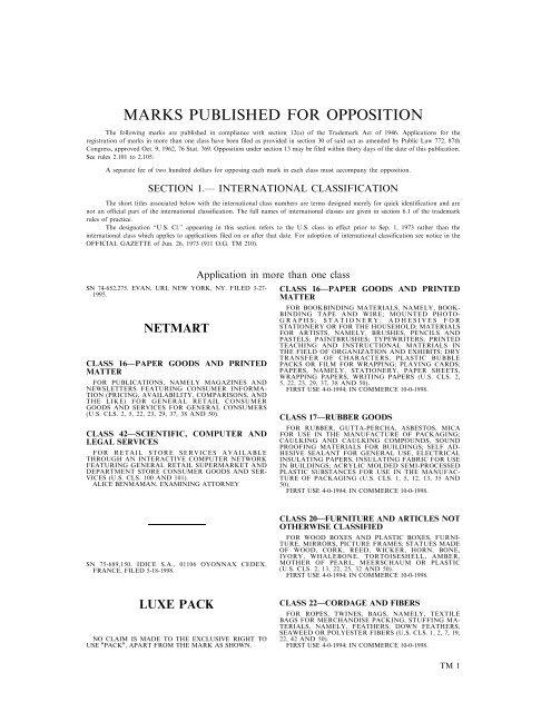 Trademark Official Gazette