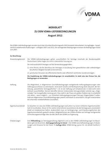 VDMA-Bedingungen für die Lieferung, Montage und Reparatur