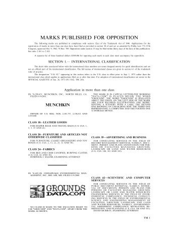 MARKS PUBLISHED FOR OPPOSITION