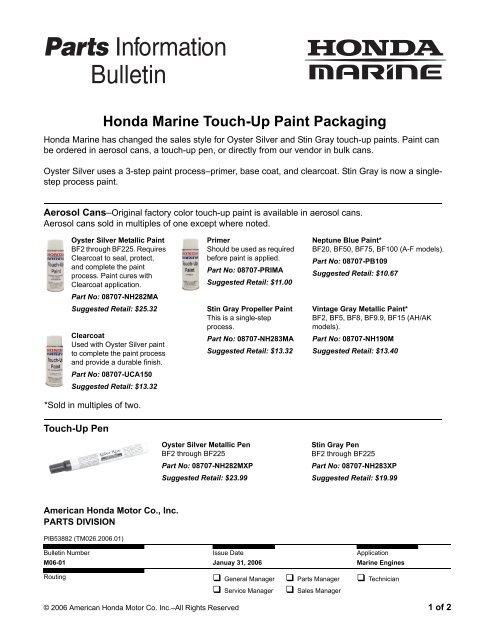 Honda Marine Touch Up Paint Packaging Suzuki Automotive Paint