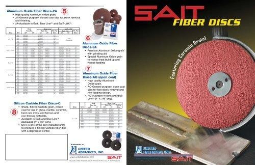 SAIT 50084 2A 9-1//8-Inch x 7//8-Inch 60 Grit Aluminum Oxide Fiber Sanding Disc United Abrasives 25-Pack