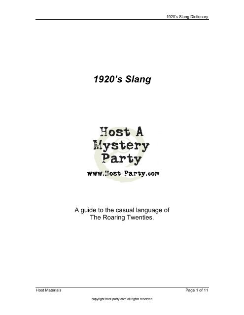 Slang words of 1920. 59 More Slang Phrases From The 1920s ...