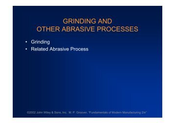 GRINDING AND OTHER ABRASIVE PROCESSES