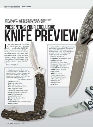 Only BlADE® hAs thE insiDE scOOp On fActOry knivEs sEt tO DEBut ...