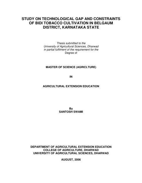electronic thesis uas dharwad