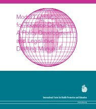 Model Legislation for Tobacco Control: A policy development
