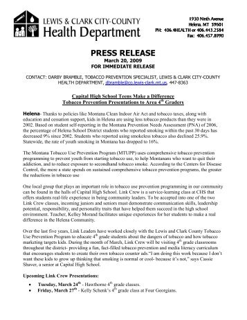 PRESS RELEASE - Lewis and Clark County
