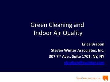 Green Cleaning and Indoor Air Quality - Pratt Center for Community ...