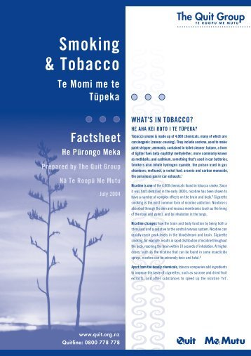 Smoking and Tobacco - Quitline New Zealand