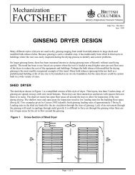 Ginseng Dryer Design - Ministry of Agriculture and Lands