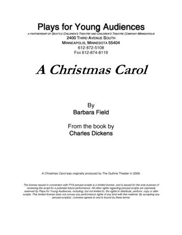 A Christmas Carol - Plays for Young Audiences