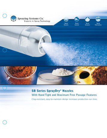 SB Series SprayDry® Nozzles With Hand Tight and Maximum Free ...