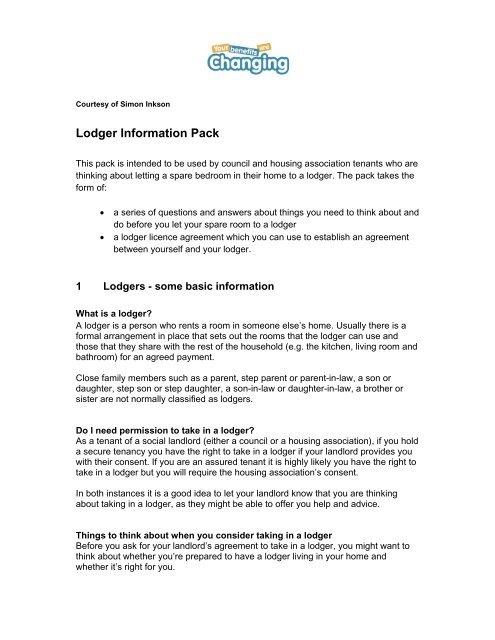 Lodger Information Pack