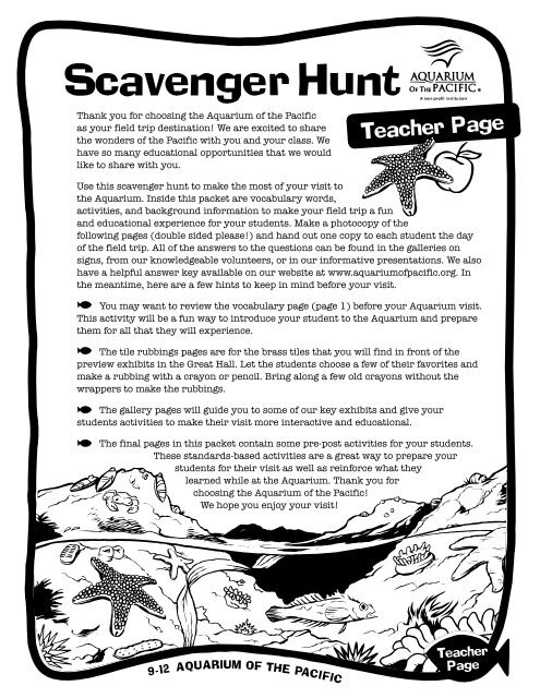 image regarding Aquarium of the Pacific Coupons Printable identified as Scavenger Hunt - Aquarium of the Pacific