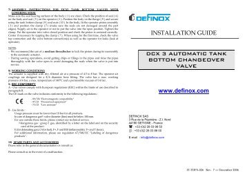 INSTALLATION GUIDE DCX 3 AUTOMATIC TANK BOTTOM ...