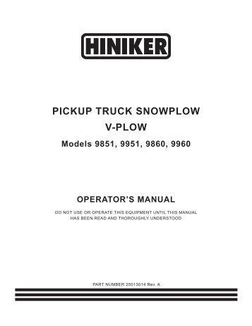 hiniker 700 manual snow plow stuff pickup truck snowplow v plow hiniker company