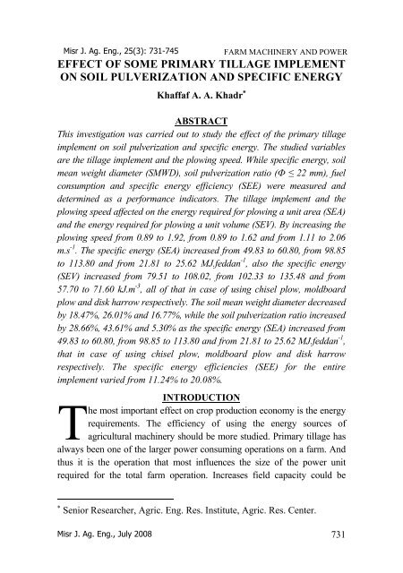 Misr J. Ag. Eng., 25(3) - Misr Journal Of Agricultural Engineering ...