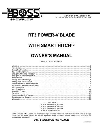 rt3 straight blade wiring snowplow installation instructions rt3 power v blade w smarthitch owner s manual boss products