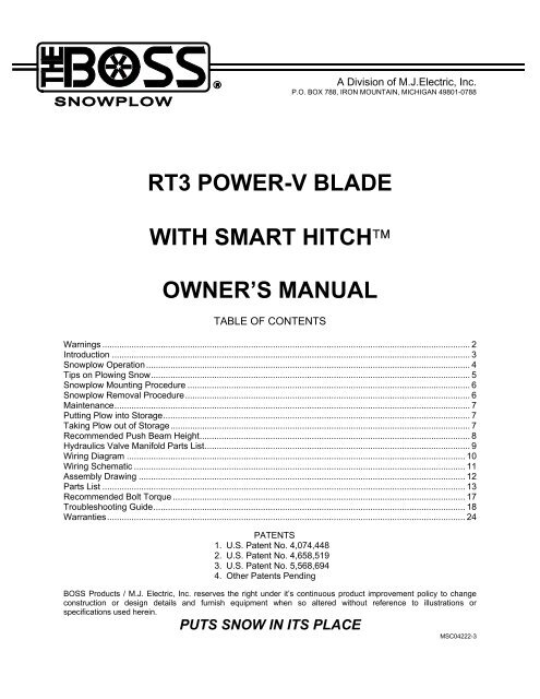 [DIAGRAM_38DE]  RT3 Power-V Blade w/SmartHitch Owner's Manual - Boss Products | Boss Rt3 Wiring Diagram |  | Yumpu