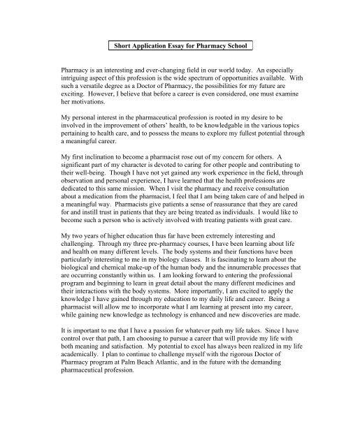 example pharmacy entrance essay