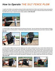 How to Operate THE SILT FENCE PLOW (CONT.)