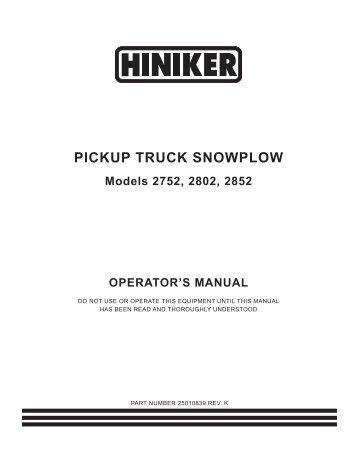 25012086reva pickup truck snowplow v plow operators manual hiniker sciox Images